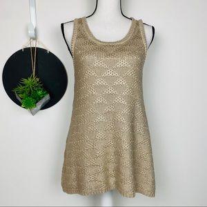 Moth (Anthro) Gold Knit Swing Tank Size M